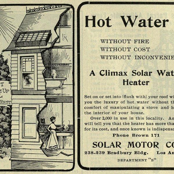 آگهی تبلیغاتی آبگرمکن خورشیدی مربوط به صد سال پیش 1920